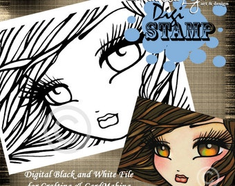 PRINTABLE Amber Eyes Mermaid Digi Stamp Coloring Page Fantasy Art Hannah Lynn