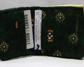 Dark Green Cotton Fabric  Bifold Wallet  or Billfold (W-128)