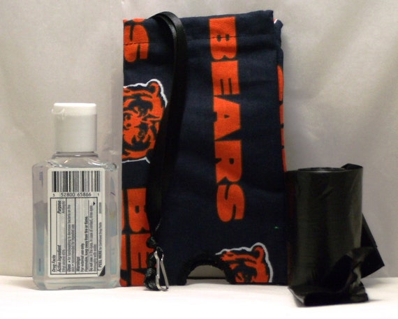 Chicago Bears Fabric Hand Sanitizer Cozy/Holder/Dispenser for Cold/Flu Season   OR Dog Poop Bag Holder/Cozy/Dispenser (HD-12)