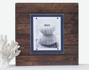 Xtra Large Dark Wood and Navy Blue 21x21 Plank Frame for 8x10