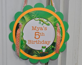 Reptile Birthday Party Door Sign - Safari, Jungle, Bugs, Insects Birthday Decorations - Orange, Green and Brown