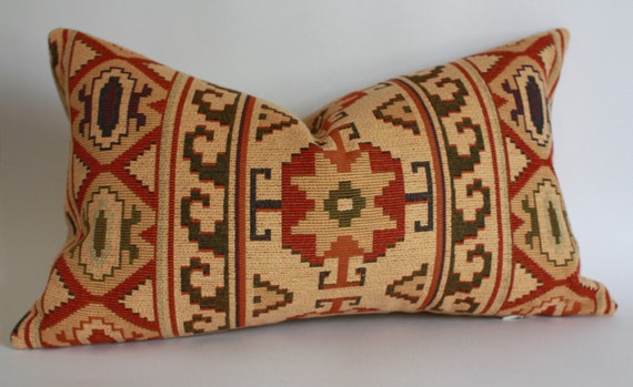 Southwestern Lumbar Pillow : Ralph Lauren Tapestry Tribal Southwestern Pillow Cover / 12x20
