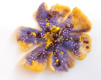 Wool Felt Flower Pin Sunshine Smile - Complementary Colors Purple Yellow  - Handmade OOAK Art Brooch - Christmas Gift Idea Under 40 USD