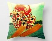 Clown Pillow, Clown Throw Pillow Cover, Kids Room Pillow Water Ski Kids Room Decor Creepy Clown Decor, Retro WaterSki, Retro Water Skiing