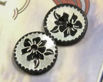 Shell Buttons - Bauhinia Pattern Black Shell Buttons, 0.47 inch, 10 Pcs