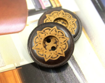 Brown Wooden Buttons - Japanese Style Mandala Wreath Pattern Brown Wood buttons. 0.91 inch, 10 pcs