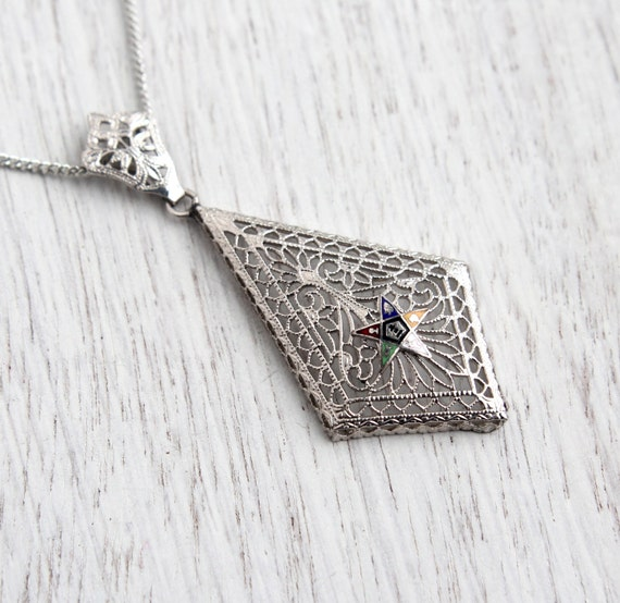 Antique Order Of Eastern Star Filigree Pendant By