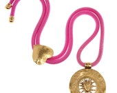 Sale price YVES SAINT LAURENT Neon Pink Rope Necklace with Sun Pendant