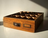 Vintage Divided Wood Drawer with Original Hardware and Paper Labels Numbered / Distressed / Storage Organization / Furniture Drawer