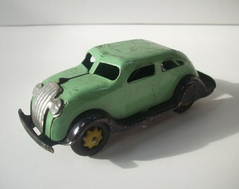 Vintage Antique Pressed Steel Toy Car / Green Silver Black / Girard Marx Wyandotte