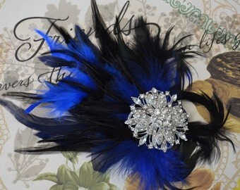 Gatsby Blue and Black Rhinestone Feather hair clip,1920s headpiece,Feather fascinator with large rhinestone brooch,Art Deco hair clip