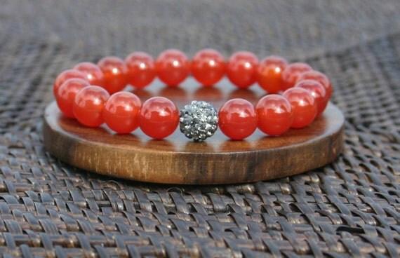 Carnelian and Pave Swarovski Gemstone Bracelet for Success