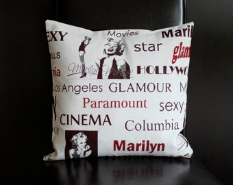 Marilyn Monroe Decorative Pillow Cover Hollywood Cushion Cover 16 x 16 Red and Beige Throw Pillow