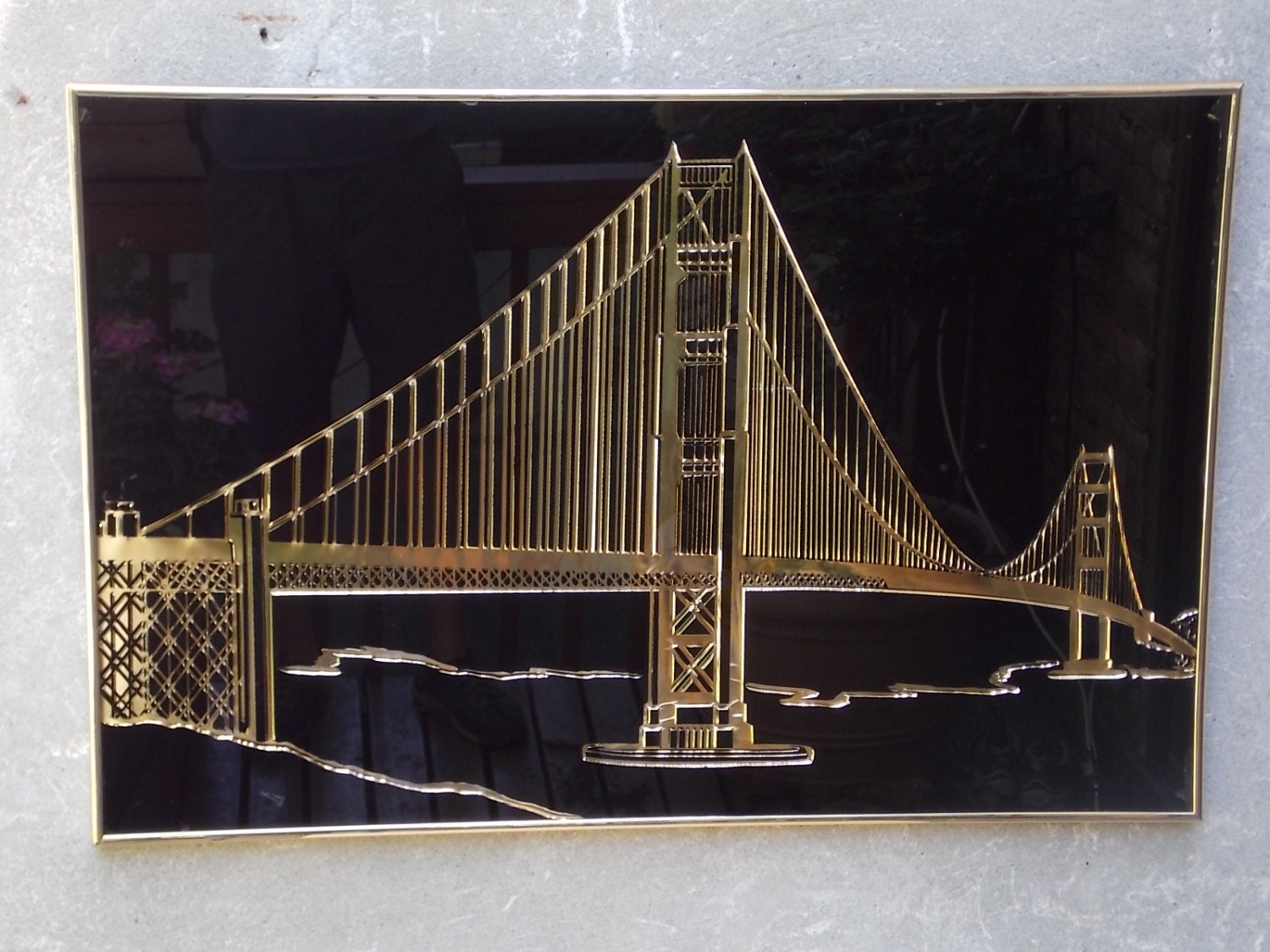 Large Gold And Black Golden Gate Bridge Metal Relief Wall