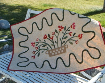 Quilted Wall Hanging, Appliqued Basket of Flowers