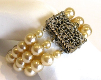Vintage 50s 60s Triple Strand Faux Pearl and Filigree Silver Clasp Bracelet