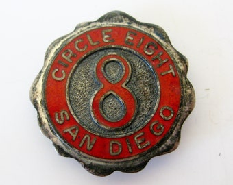 Vintage 50s Circle Eight 8 San Diego Sterling Silver Enamel Square Dance Club Brooch Pin