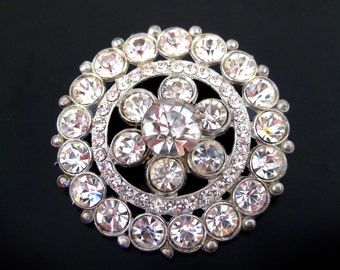 Vintage 50s 60s Silver Toned Rhinestone Glamour Girl Mad Men Large Brooch Pin