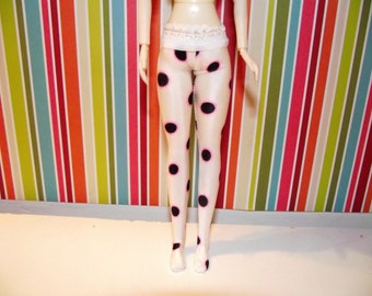 White with black and pink dots tights leggins for DAL doll