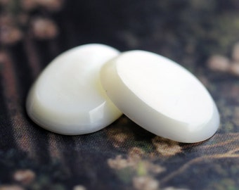 LAST ONES: 18x13mm Natural Mother of Pearl MOP Oval Beveled Cabochon Cabs, White, Quantity 2