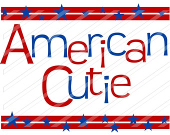 INSTANT DOWNLOAD-DIY Iron On Transfer - American Cutie