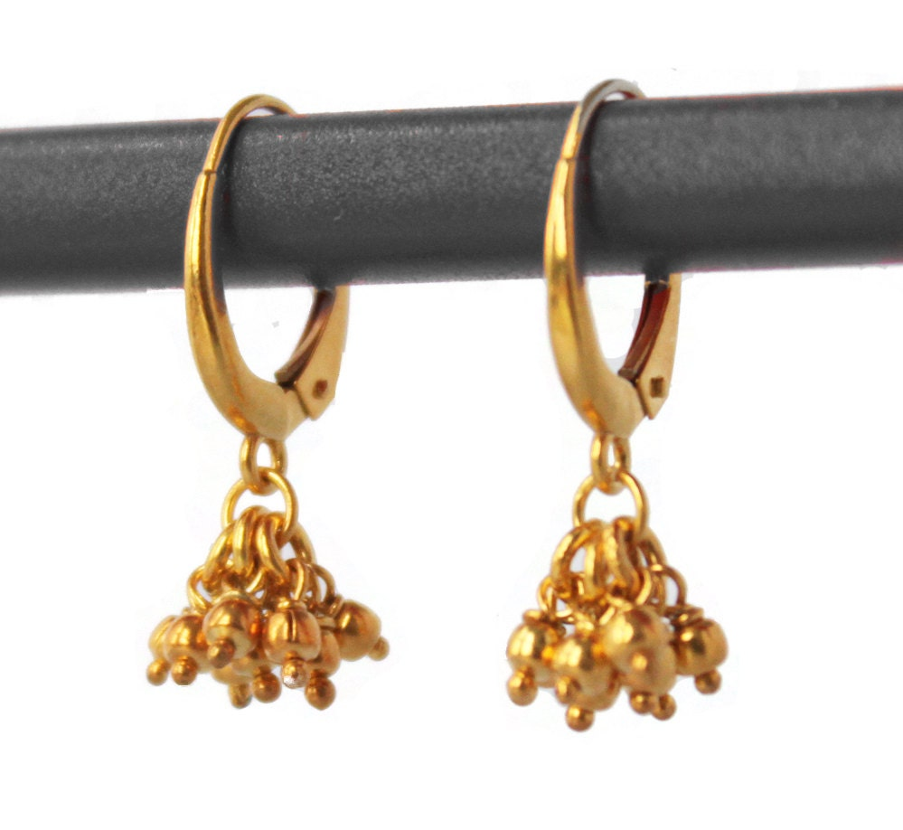 Delicate Gold Drop Earrings Tiny Ball Clusters 14k 18k Or