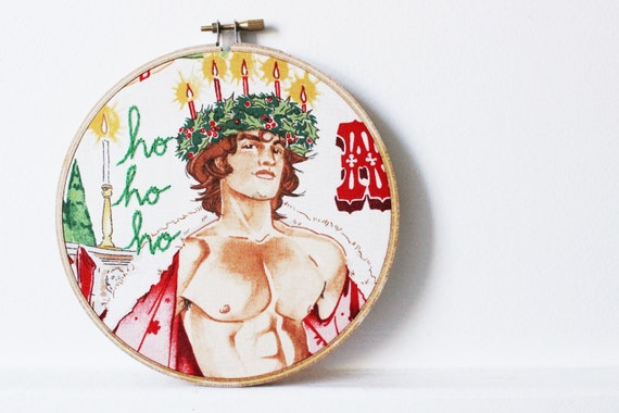 "Christmas Decor, ""ho ho ho"" Sign. Embroidery Hoop Art. Gifts for Her. Sexy Santa Man by merriweathercouncil"