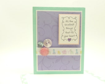 Baby Shower Card, Baby Girl Congratulations Card, Pastel Baby Card, Ribbon, Button, Baby Animal Handmade Greeting Card