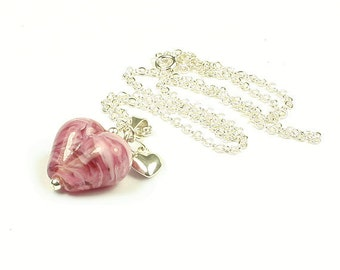 Rosaleen Sterling Silver & Lampwork Glass Heart Necklace