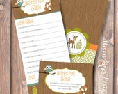 Woodland Animals Printable Wishes for Baby Game - INSTANT DOWLOAD