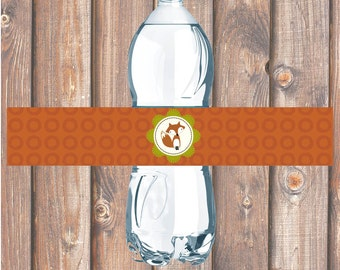 Fox Water Bottle Labels Fantastic Fox Printable Water Bottle Labels Baby Boy Rust Moss Green or Charcoal Gray Turquoise - INSTANT DOWNLOAD