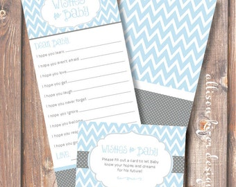 Blue and Gray Chevron Stripes Printable Wishes for Baby Game Light Blue Baby Boy Baby Wishes Cards Polka Dots Chevron - INSTANT DOWLOAD