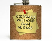 Custom Personalized Flask Create Your Own Flask with Custom Message on Cork Board Gift Stainless Steel 6 oz Liquor Hip Flask LC-1097