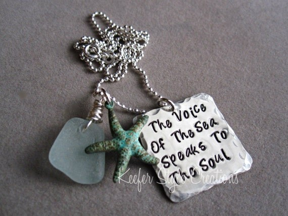 Beach Hand Stamped  necklace with Sea glass and patina  starfish charm
