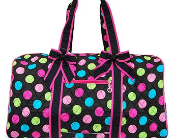 Personalized Multi color Polka Dots Quilted Duffle Bag Monogrammed for FREE, Great for Birthdays, Dance, Cheer, Sleepovers, Gifts