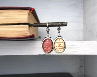 Wuthering Heights Earrings Quote Emily Bronte Silver - SOULS - Red Cream Literary Book Gift Etsy uk