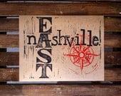 East Nashville linocut print in woodblock and old typewriter style