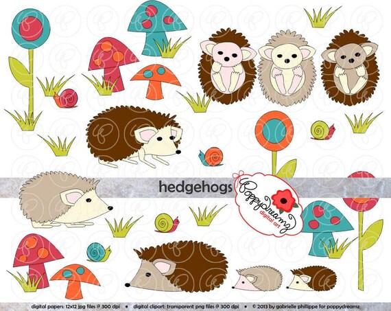 Hedgehogs Clipart Set 300 Dpi Hedgehog Snail Mushroom Flower