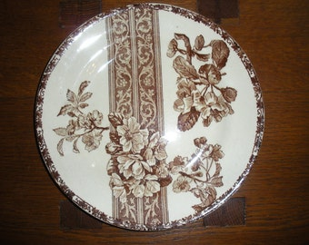 French Antique Brown Transferware, Paris, Marseille, France, Faience with Flowers, Mag-ni-fique!