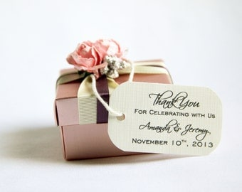 125 Mini Wedding Favor Gift Tags - Sophisticated; Thank You for Celebrating wtih Us Customized with names hang tag bridal shower bridesmaid