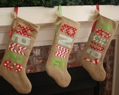 Burlap Christmas Stocking - Personalized - Traditional Christmas Colors - fun and funky letters and fabrics - fully lined