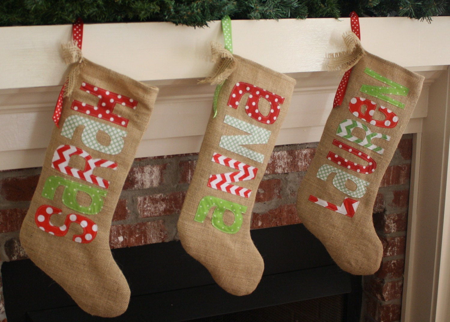 Burlap christmas stocking personalized traditional for Custom made christmas stockings