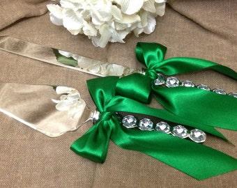Engraveable Crystal Wedding Cake Server Set Elegant Emerald Wedding Cake Cutting Set Crystal Cake Cutter Set