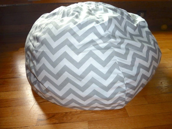 Grey White Chevron Bean Bag Chair Cover Silver Gray Red