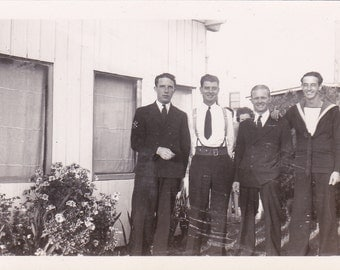 Vintage Photo - Three Men with Sailor - Vintage Photograph, Vernacular, Found Photo (G)