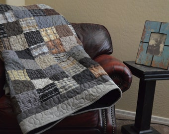 Quilt  UpCycle RePurpose ReUse Monochromatic  Men's Plaid Dress Shirt TWIN Black Gray Brown Made to Order
