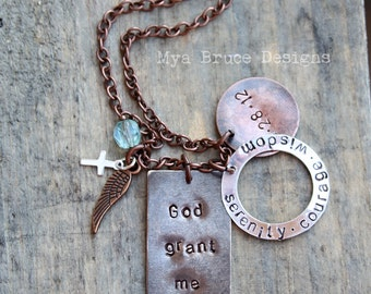 God grant me ... serenity, courage, wisdom. With date, or personalize mixed metal hand stamped necklace design.