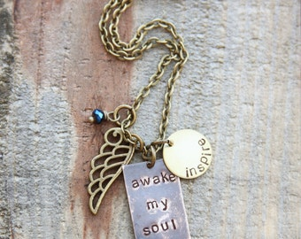 awake my soul -inspire - mixed metal necklace design with wing charm in antique golds