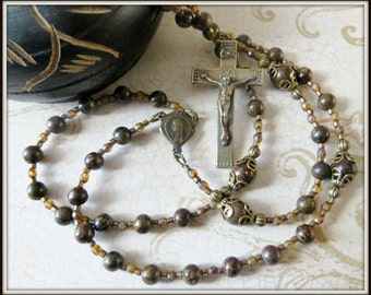Traditional Brown Five Decade Rosary for Men in Bronzite Gemstone w/ Solid Bronze Rosary Parts
