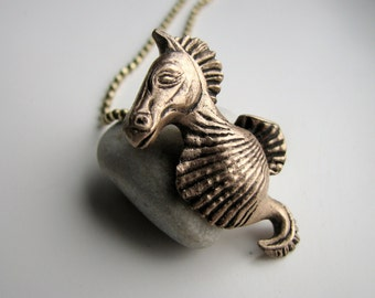 Seahorse necklace nautical shell jewelry